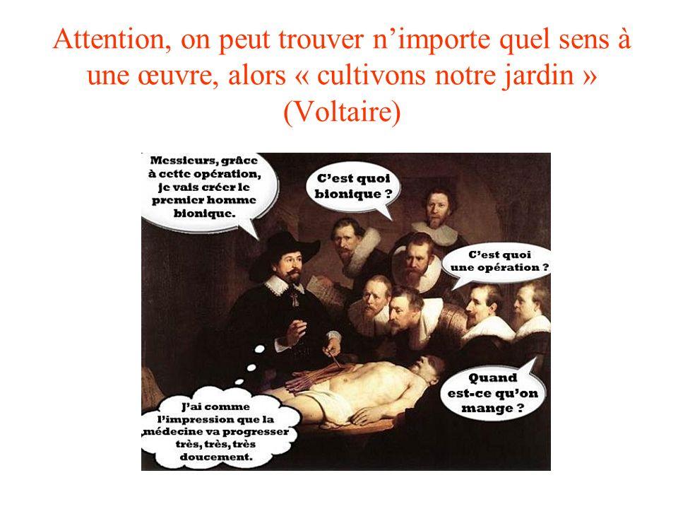 Attention, on peut trouver n'importe quel sens à une œuvre, alors « cultivons notre jardin » (Voltaire)