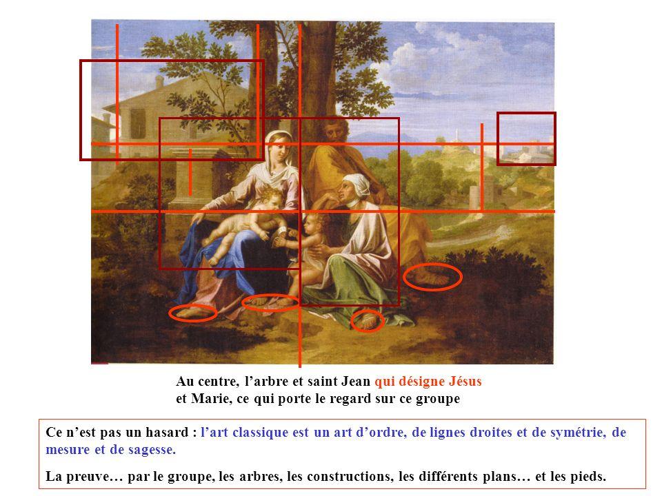Au centre, l'arbre et saint Jean qui désigne Jésus et Marie, ce qui porte le regard sur ce groupe