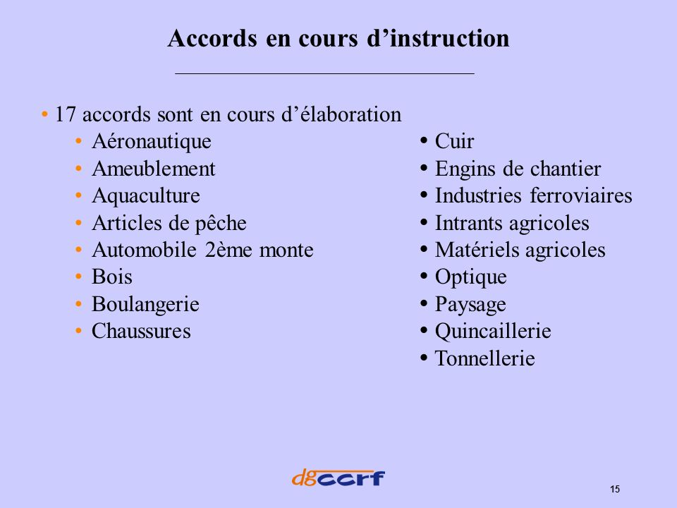 Accords en cours d'instruction