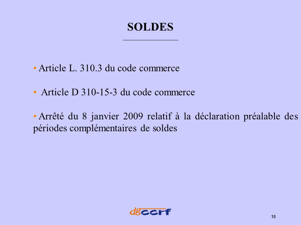 SOLDES Article L. 310.3 du code commerce