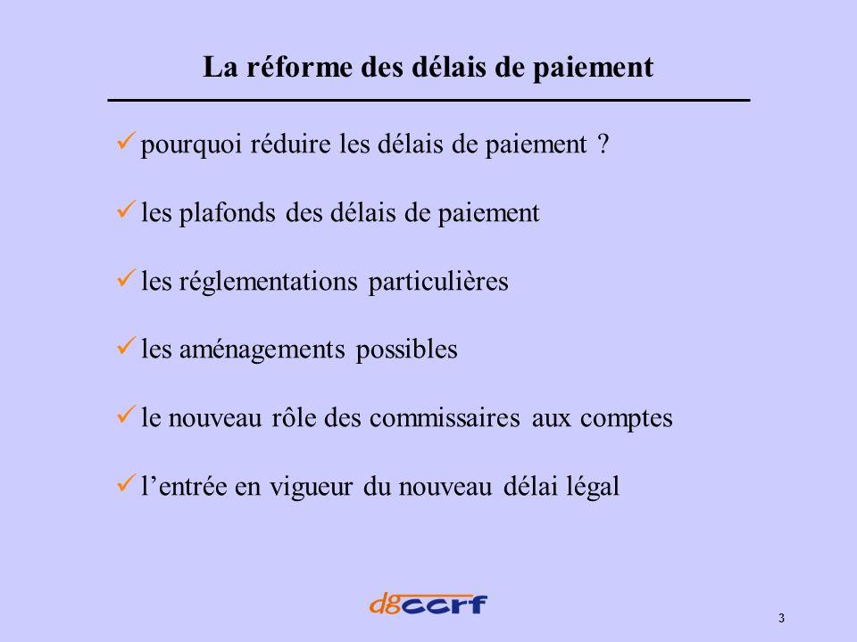 La réforme des délais de paiement