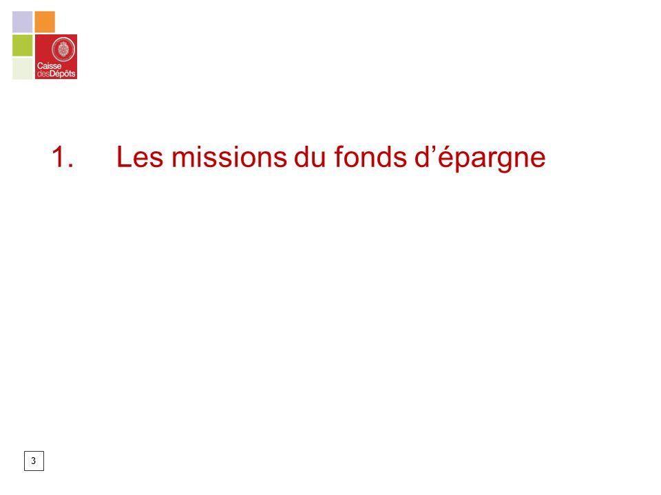 1. Les missions du fonds d'épargne