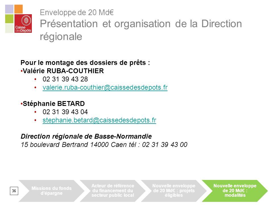 Enveloppe de 20 Md€ Présentation et organisation de la Direction régionale