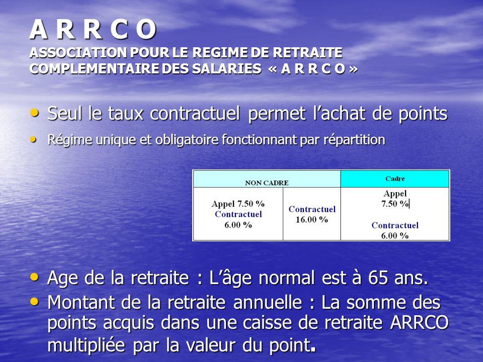 A R R C O ASSOCIATION POUR LE REGIME DE RETRAITE COMPLEMENTAIRE DES SALARIES « A R R C O »
