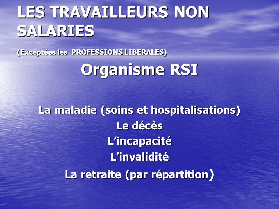 LES TRAVAILLEURS NON SALARIES (Exceptées les PROFESSIONS LIBERALES)