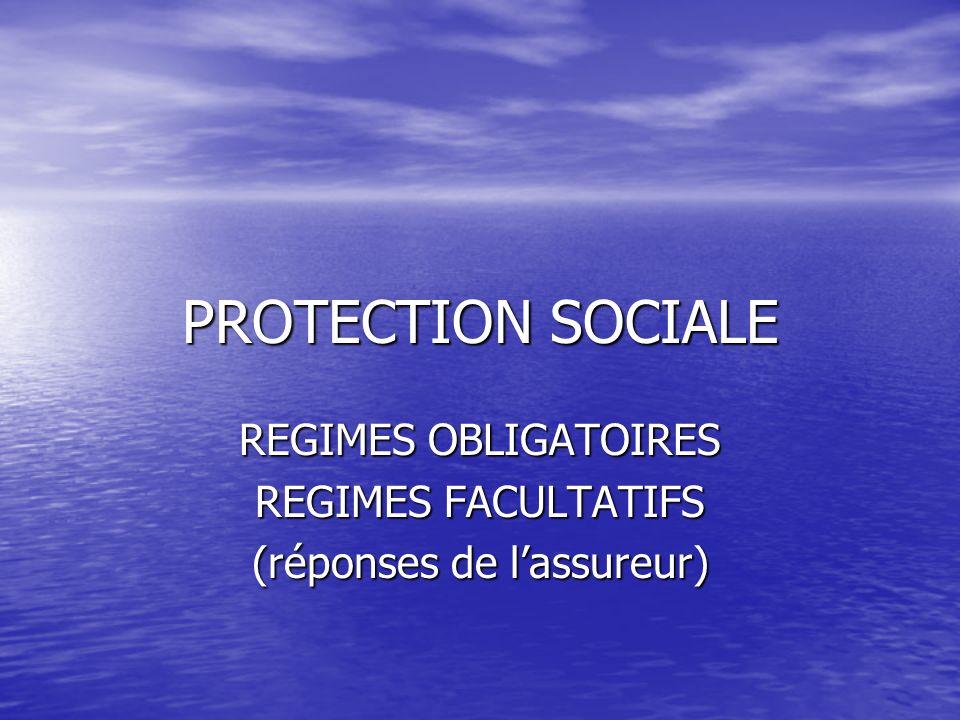 REGIMES OBLIGATOIRES REGIMES FACULTATIFS (réponses de l'assureur)