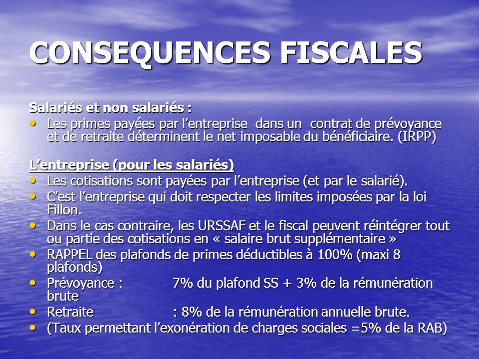CONSEQUENCES FISCALES
