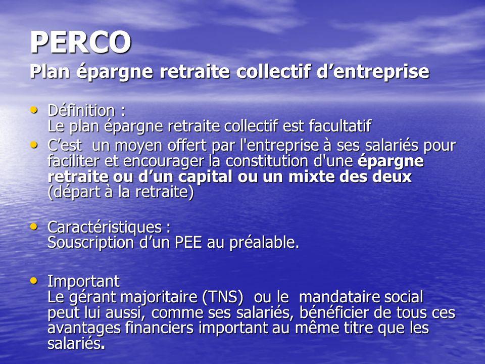 PERCO Plan épargne retraite collectif d'entreprise