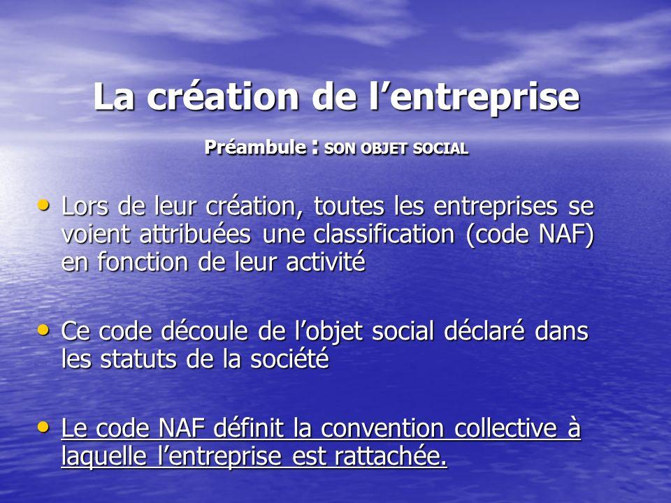 La création de l'entreprise Préambule : SON OBJET SOCIAL