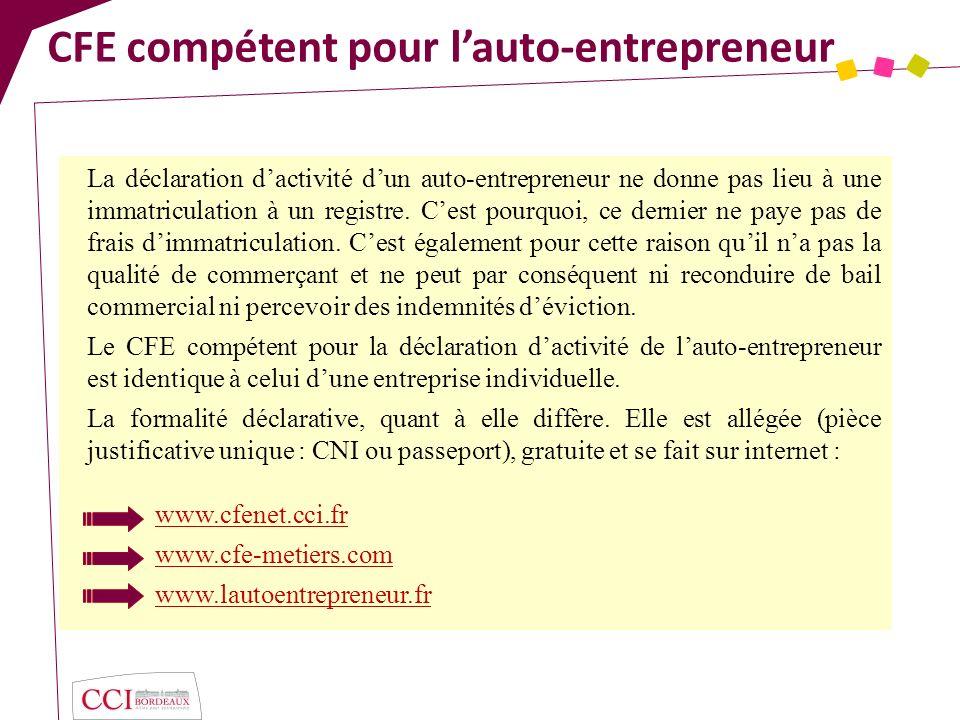 CFE compétent pour l'auto-entrepreneur