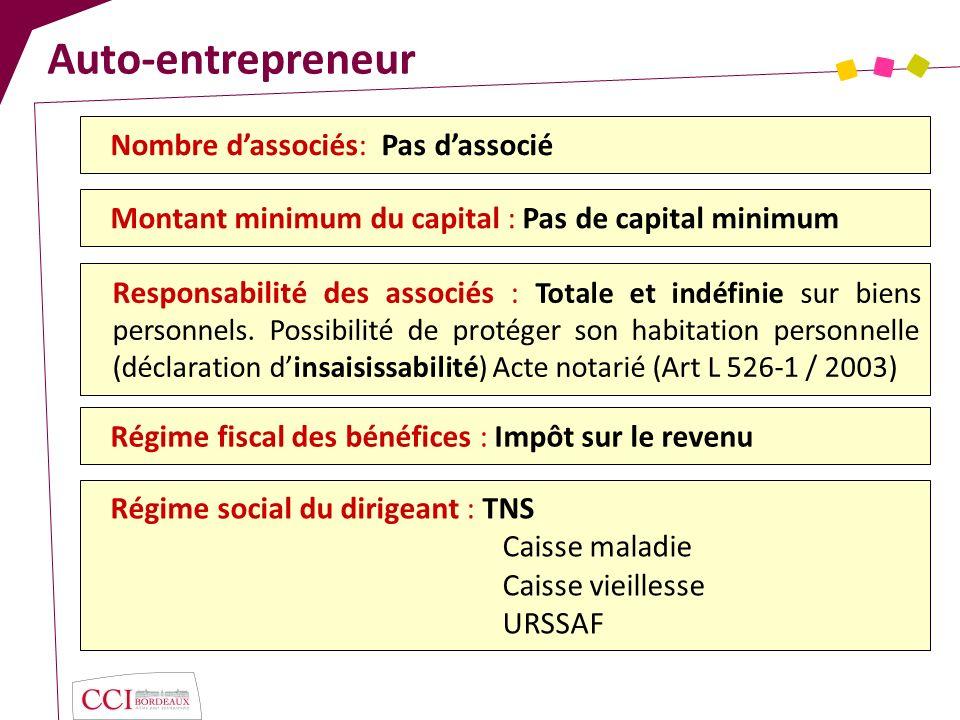 Auto-entrepreneur Nombre d'associés: Pas d'associé