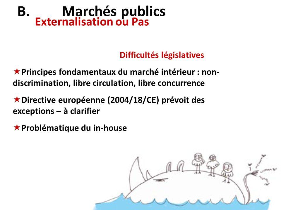 B. Marchés publics Externalisation ou Pas Difficultés législatives