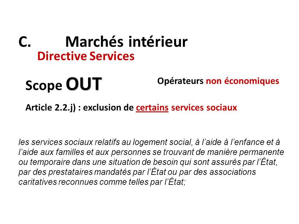 C. Marchés intérieur Scope OUT Directive Services