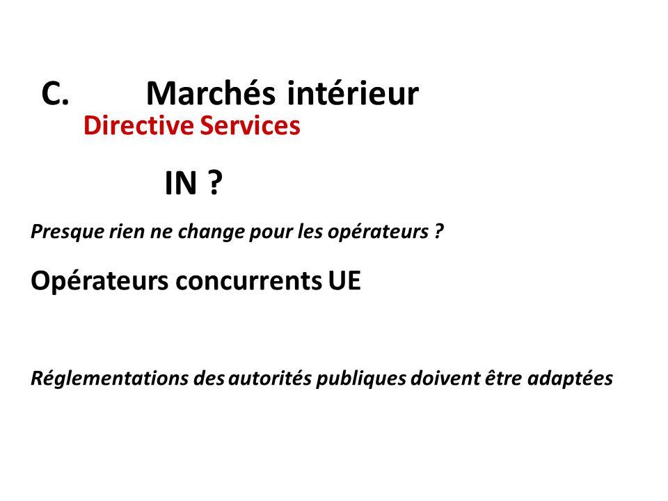 C. Marchés intérieur IN Directive Services Opérateurs concurrents UE