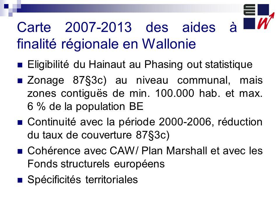 Carte 2007-2013 des aides à finalité régionale en Wallonie