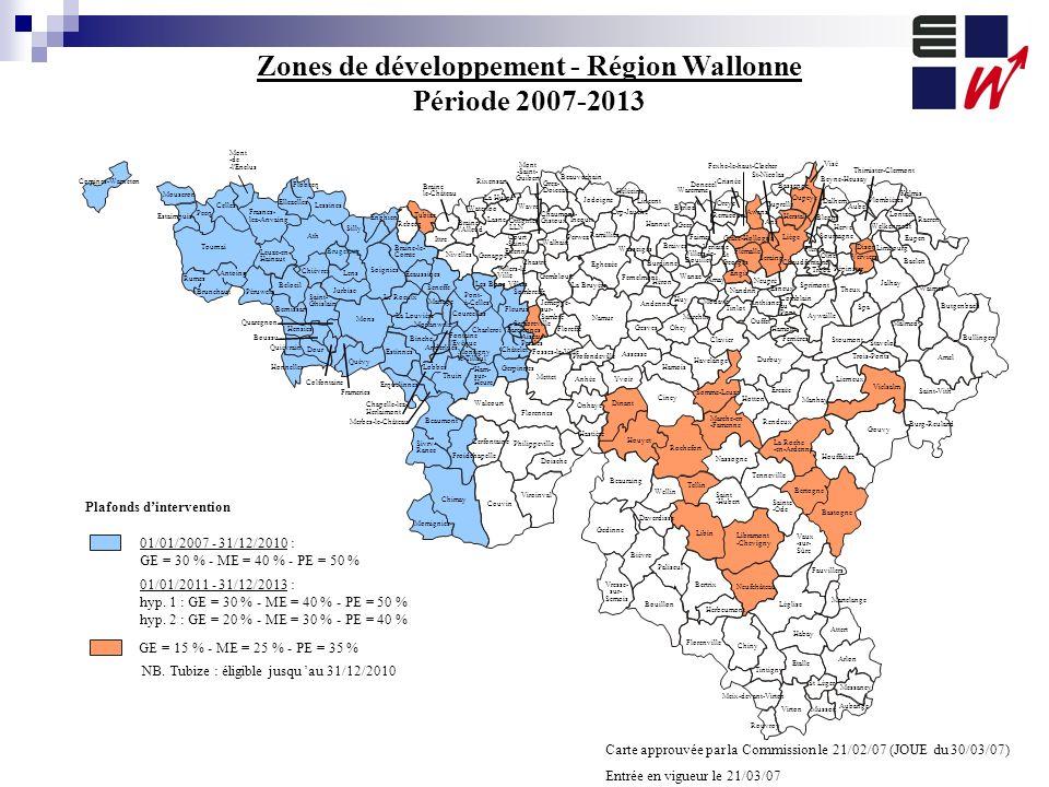Zones de développement - Région Wallonne Période 2007-2013