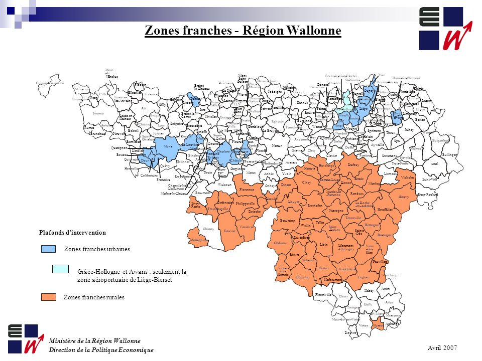 Zones franches - Région Wallonne