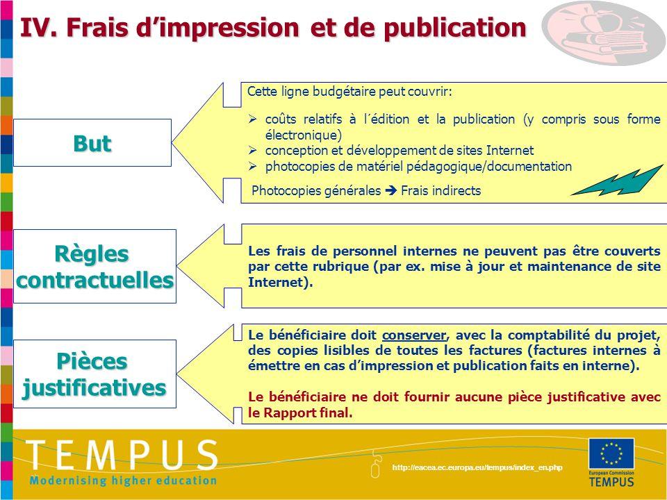 IV. Frais d'impression et de publication