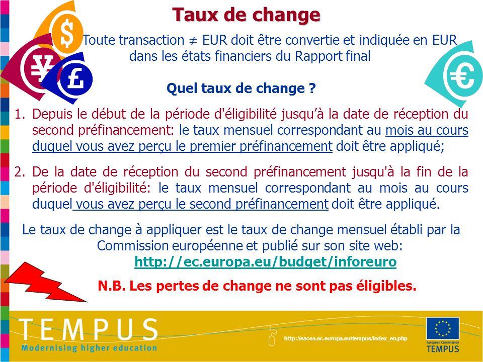N.B. Les pertes de change ne sont pas éligibles.