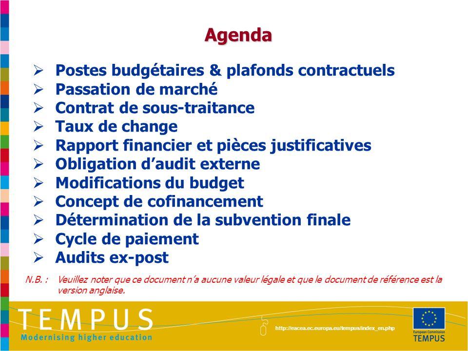 Agenda Postes budgétaires & plafonds contractuels Passation de marché