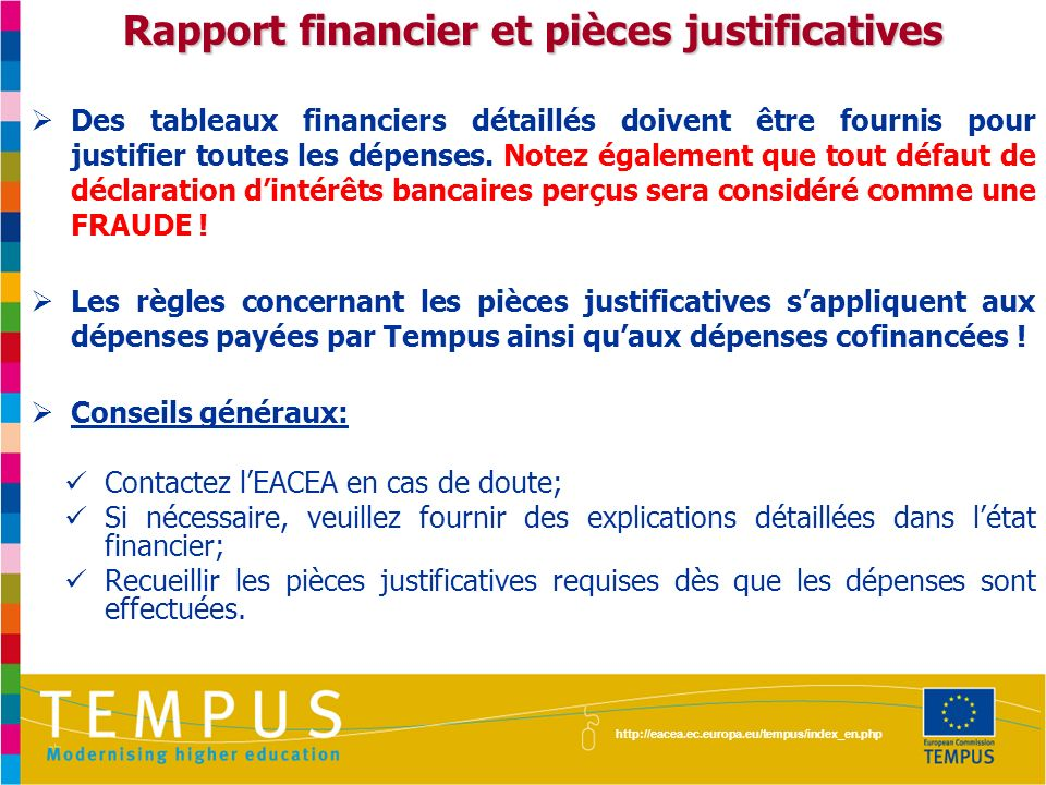 Rapport financier et pièces justificatives