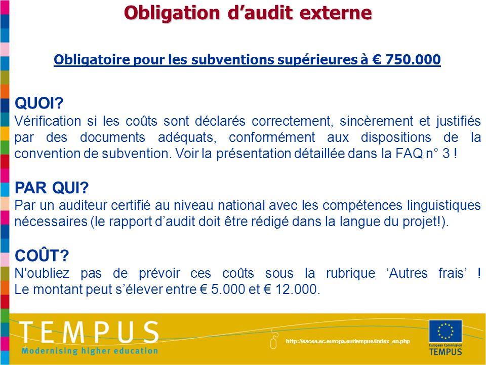 Obligation d'audit externe