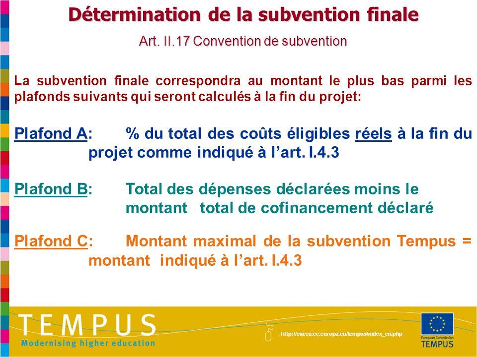 Détermination de la subvention finale