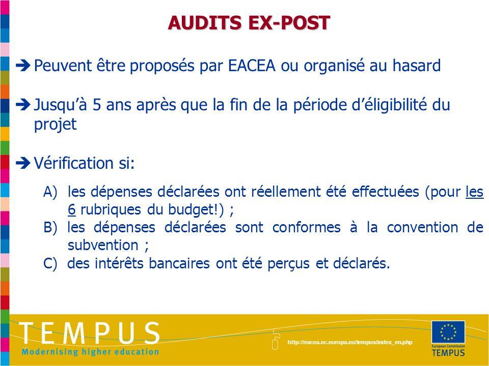 AUDITS EX-POST Peuvent être proposés par EACEA ou organisé au hasard
