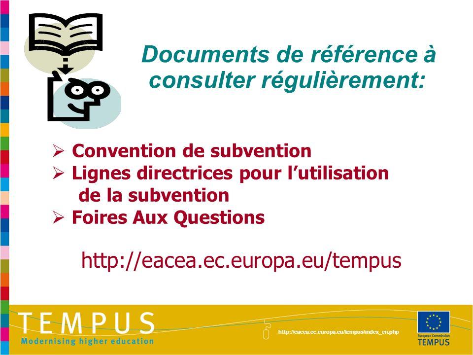 Documents de référence à consulter régulièrement: