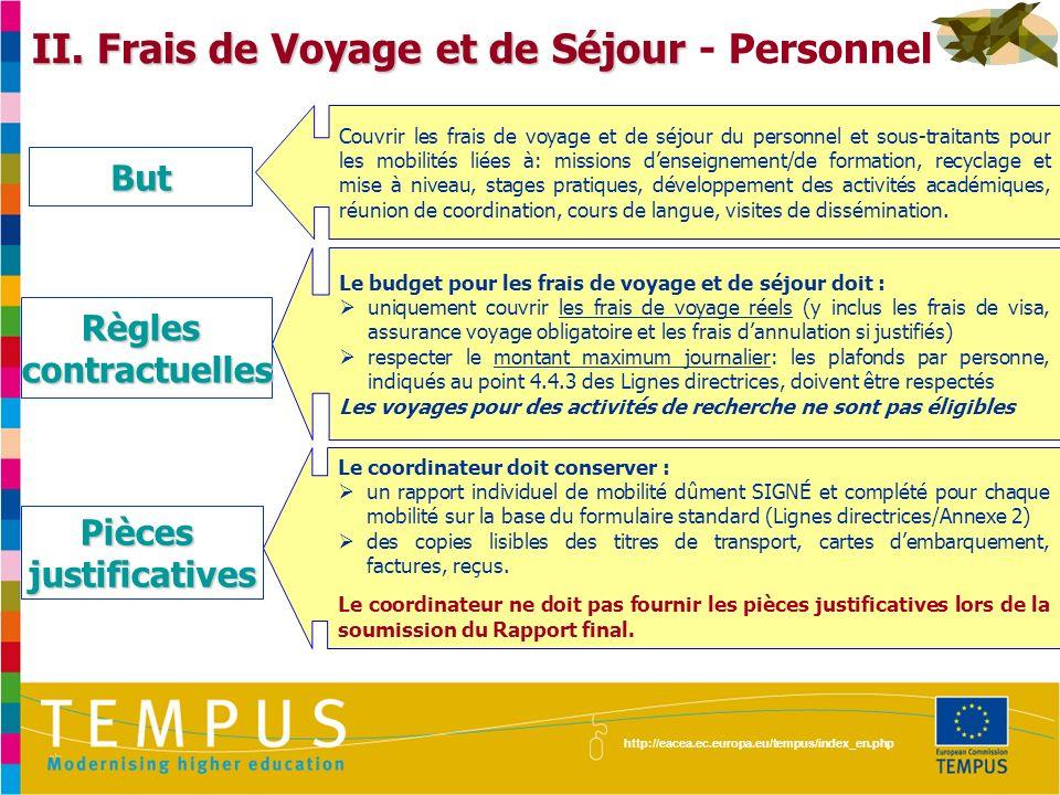 II. Frais de Voyage et de Séjour - Personnel