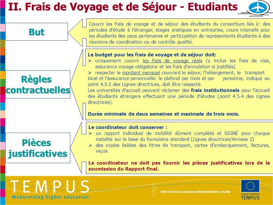 II. Frais de Voyage et de Séjour - Etudiants