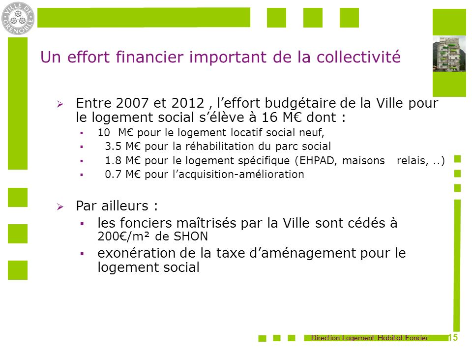 Un effort financier important de la collectivité