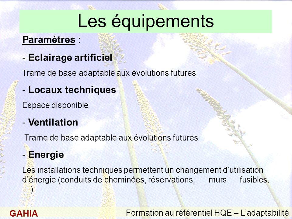 Les équipements Paramètres : - Eclairage artificiel