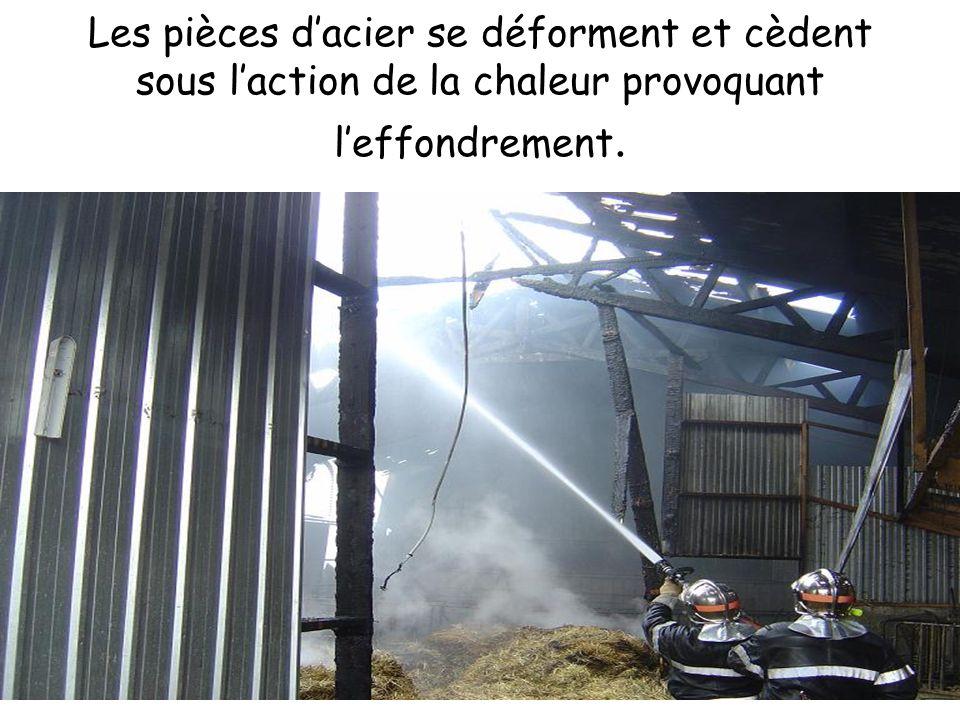 Les pièces d'acier se déforment et cèdent sous l'action de la chaleur provoquant l'effondrement.