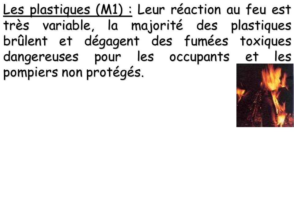 Les plastiques (M1) : Leur réaction au feu est très variable, la majorité des plastiques brûlent et dégagent des fumées toxiques dangereuses pour les occupants et les pompiers non protégés.