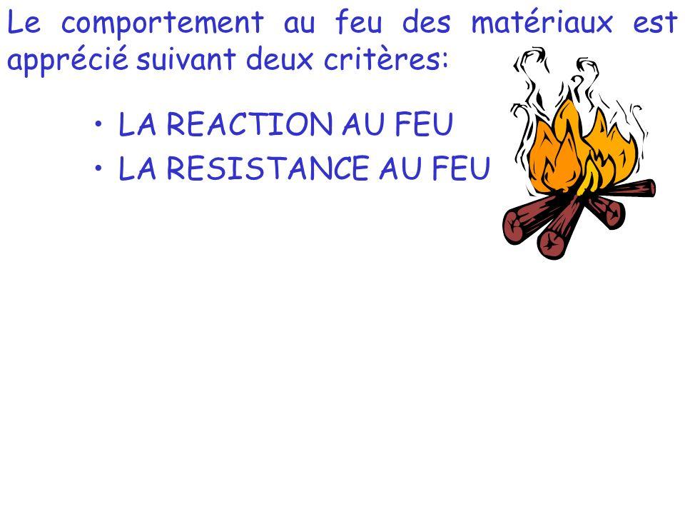Le comportement au feu des matériaux est apprécié suivant deux critères: