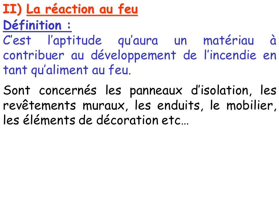 II) La réaction au feu Définition : C'est l'aptitude qu'aura un matériau à contribuer au développement de l'incendie en tant qu'aliment au feu.