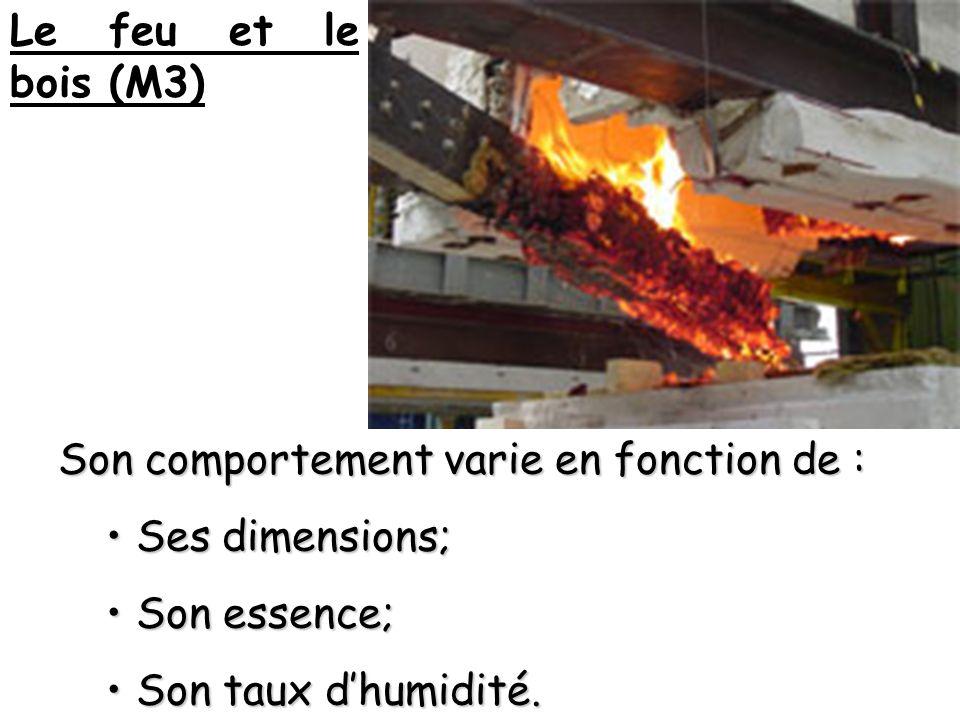 Le feu et le bois (M3) Son comportement varie en fonction de : Ses dimensions; Son essence; Son taux d'humidité.