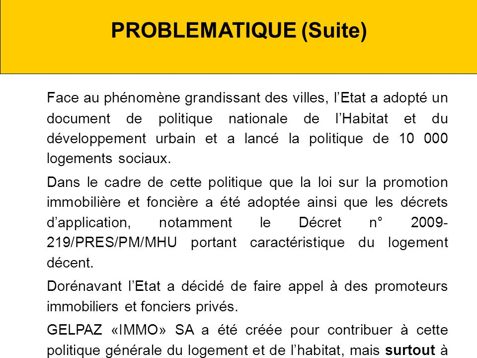 PROBLEMATIQUE (Suite)