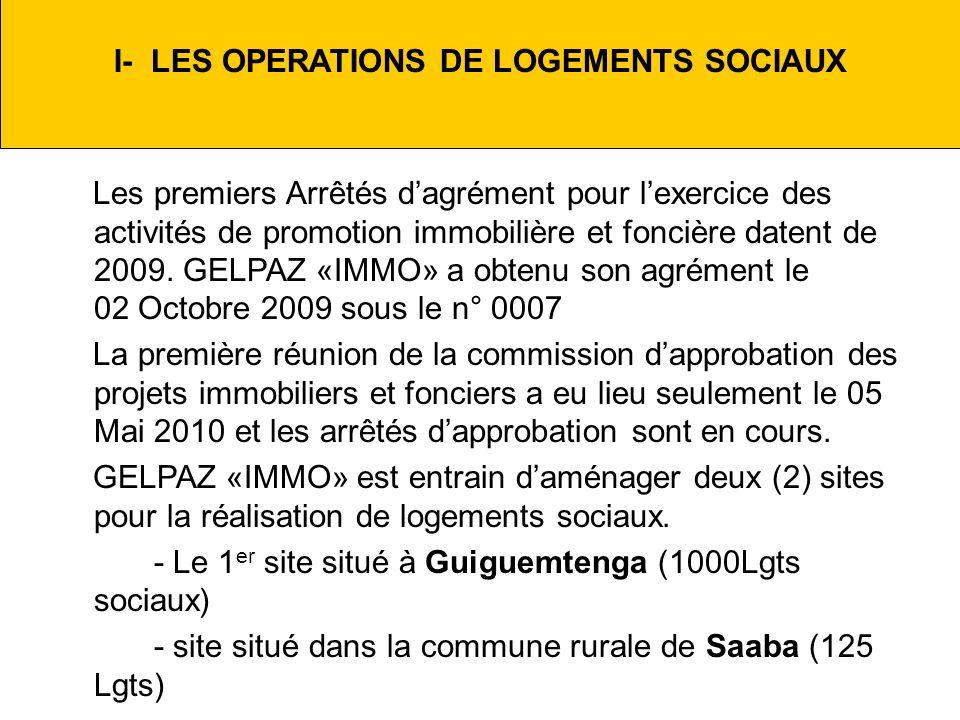 I- LES OPERATIONS DE LOGEMENTS SOCIAUX
