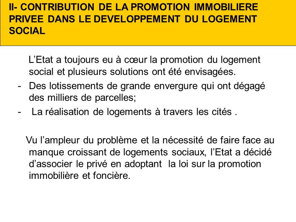 II- CONTRIBUTION DE LA PROMOTION IMMOBILIERE PRIVEE DANS LE DEVELOPPEMENT DU LOGEMENT SOCIAL