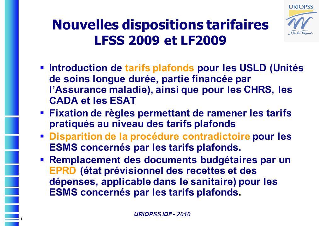Nouvelles dispositions tarifaires LFSS 2009 et LF2009