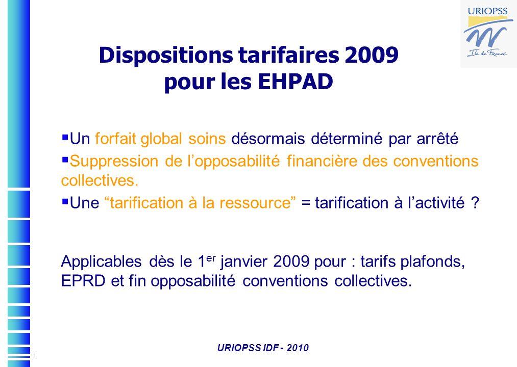 Dispositions tarifaires 2009 pour les EHPAD