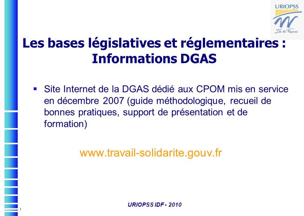 Les bases législatives et réglementaires : Informations DGAS