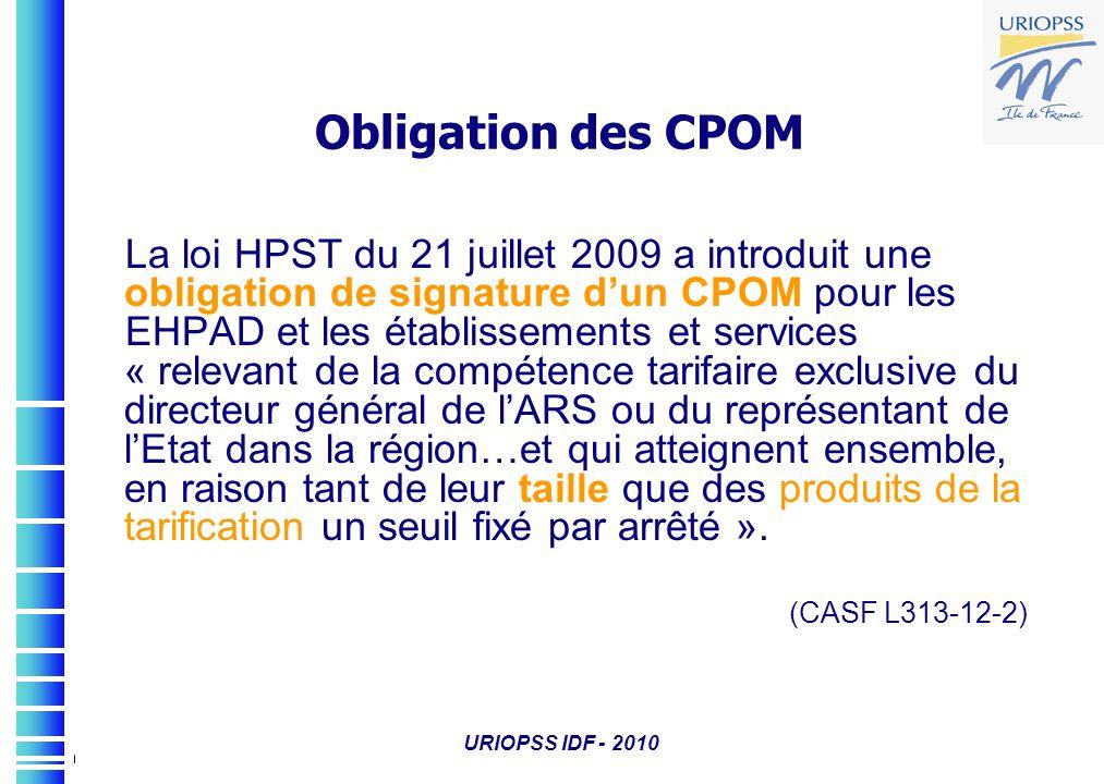 Obligation des CPOM La loi HPST du 21 juillet 2009 a introduit une obligation de signature d'un CPOM pour les.
