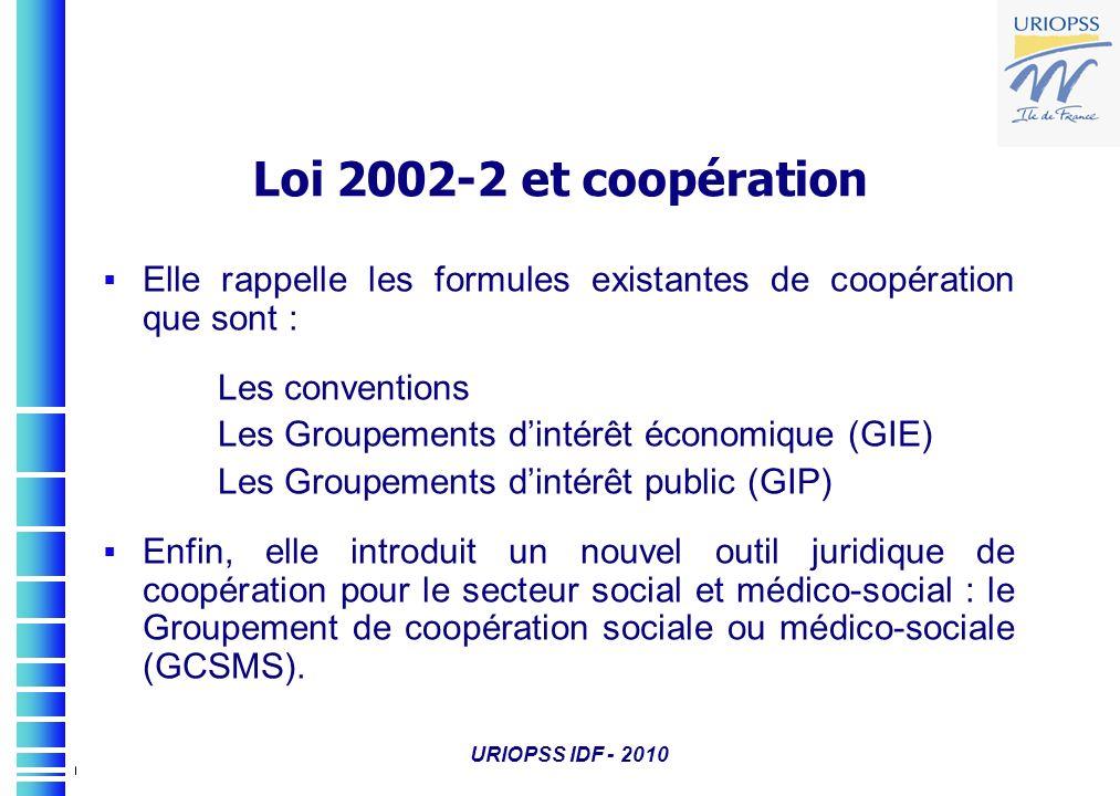 Loi 2002-2 et coopération Elle rappelle les formules existantes de coopération que sont : Les conventions.