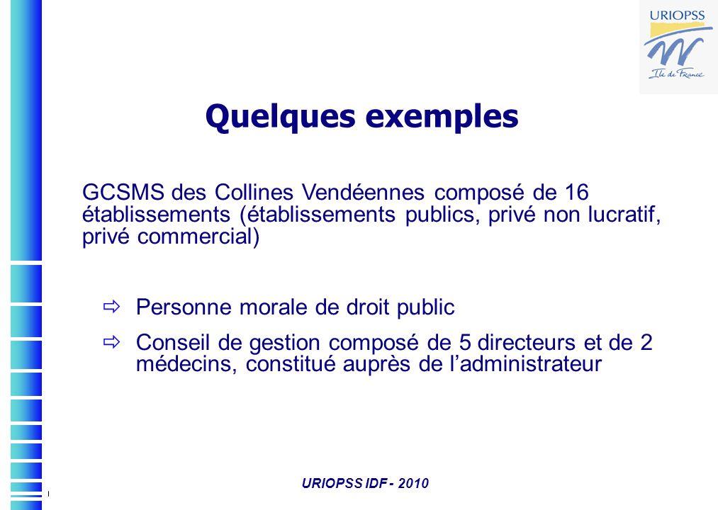 Quelques exemples GCSMS des Collines Vendéennes composé de 16 établissements (établissements publics, privé non lucratif, privé commercial)