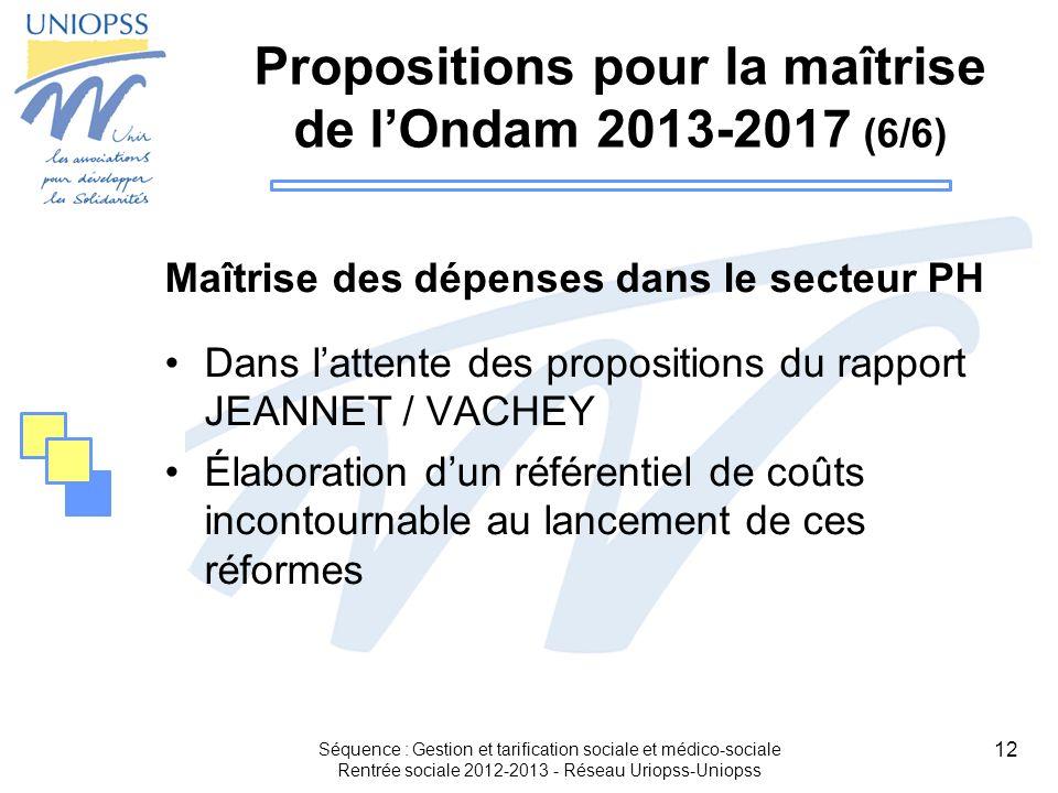 Propositions pour la maîtrise de l'Ondam 2013-2017 (6/6)