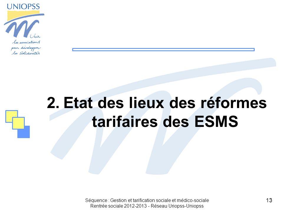 Etat des lieux des réformes tarifaires des ESMS