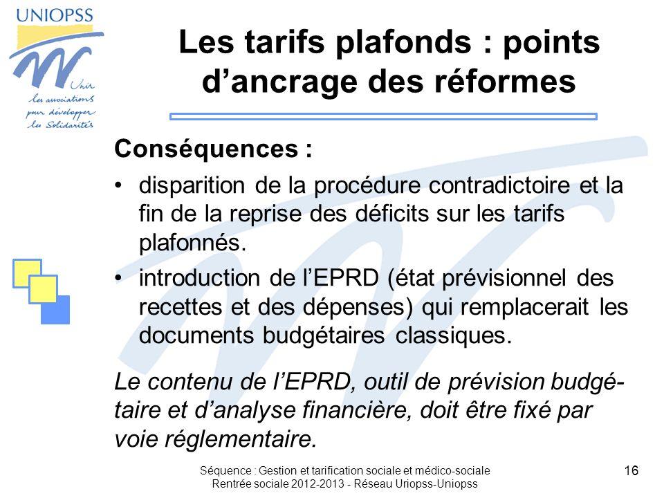 Les tarifs plafonds : points d'ancrage des réformes